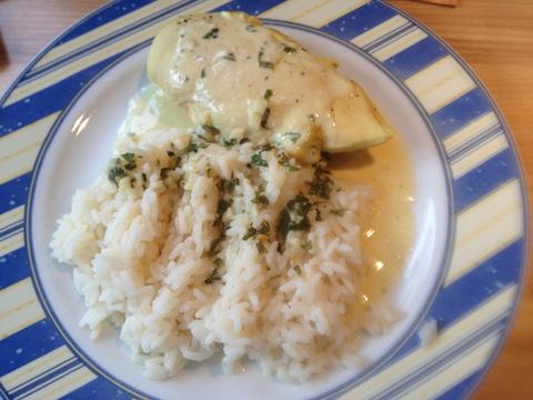 Estragon-Hühnchen mit Reis